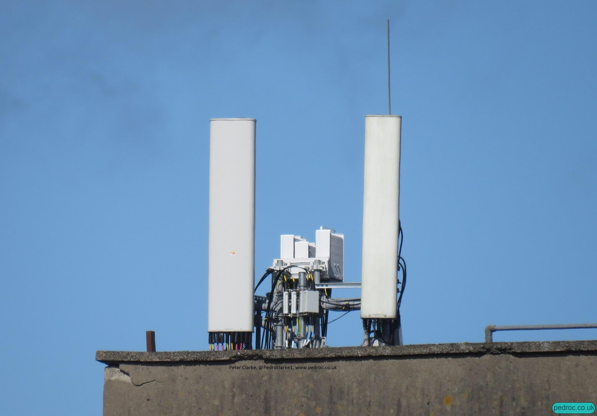 EE (BT) Ericsson 4G and 5G site in Belfast with Ericsson ERS 8823 (5G 8T8R), 4415 (2600MHz 4T4R capable but 2T on field testing), 4480 (L18+L21 4T4R)