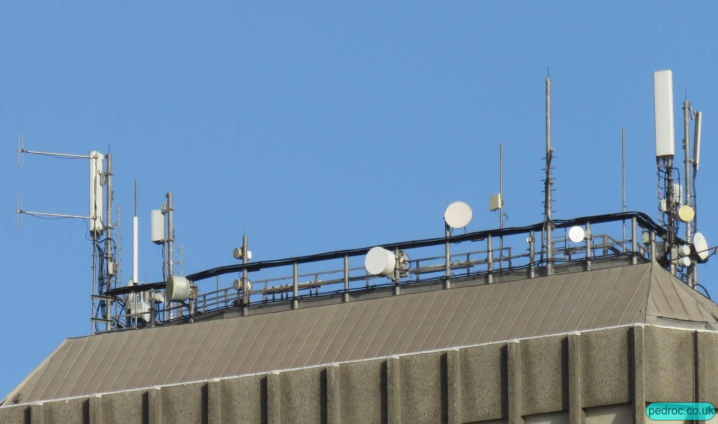 Close up of capital tower's rooftop EE unilateral