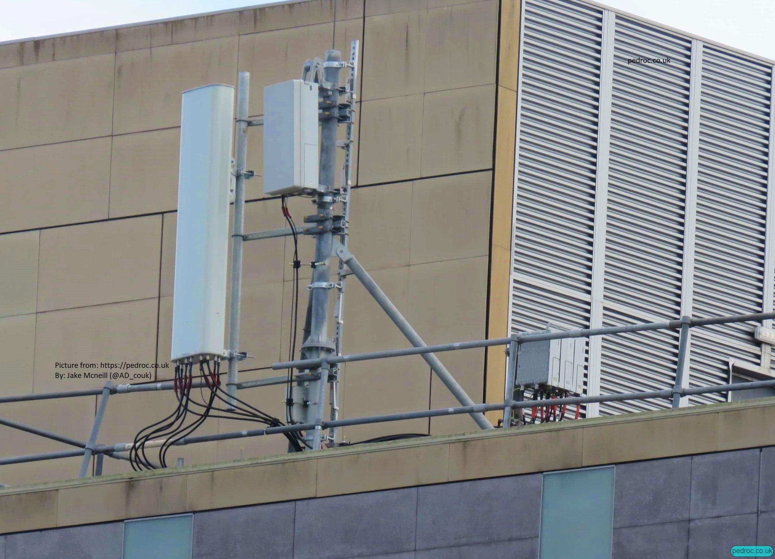 Another view of the Huawei antennas, RRUs and Massive MIMO for Vodafone 5G in Cardiff