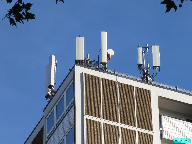 Closeup of some of the antennas on Coltash Court.