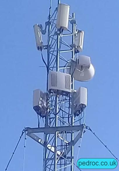 Cubacel mast with Ericsson RRUS12 radios for 2G/3G 900MHz Kathrein 739620 antennas.