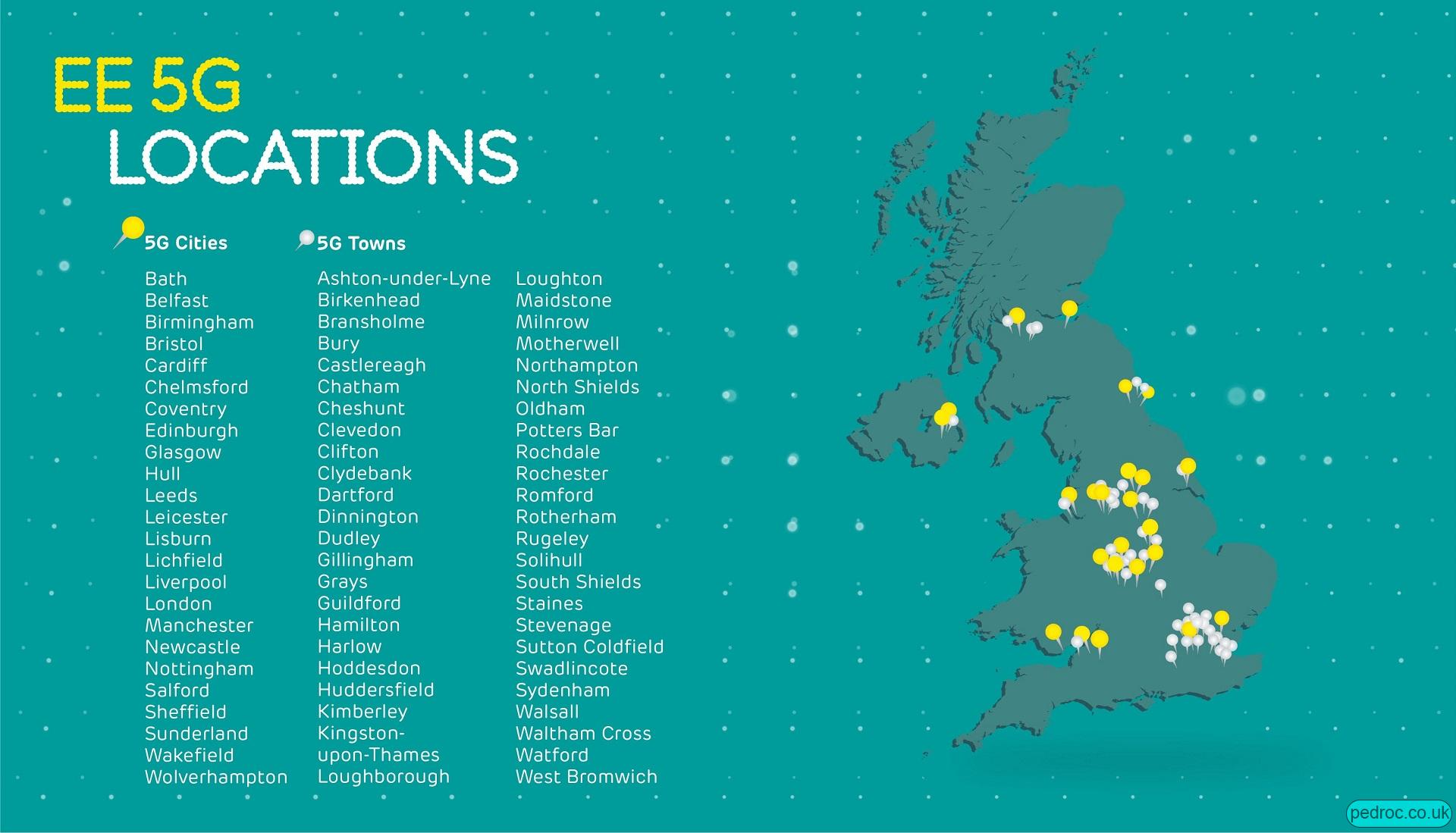 Locations of EE 5G as of March 2020.