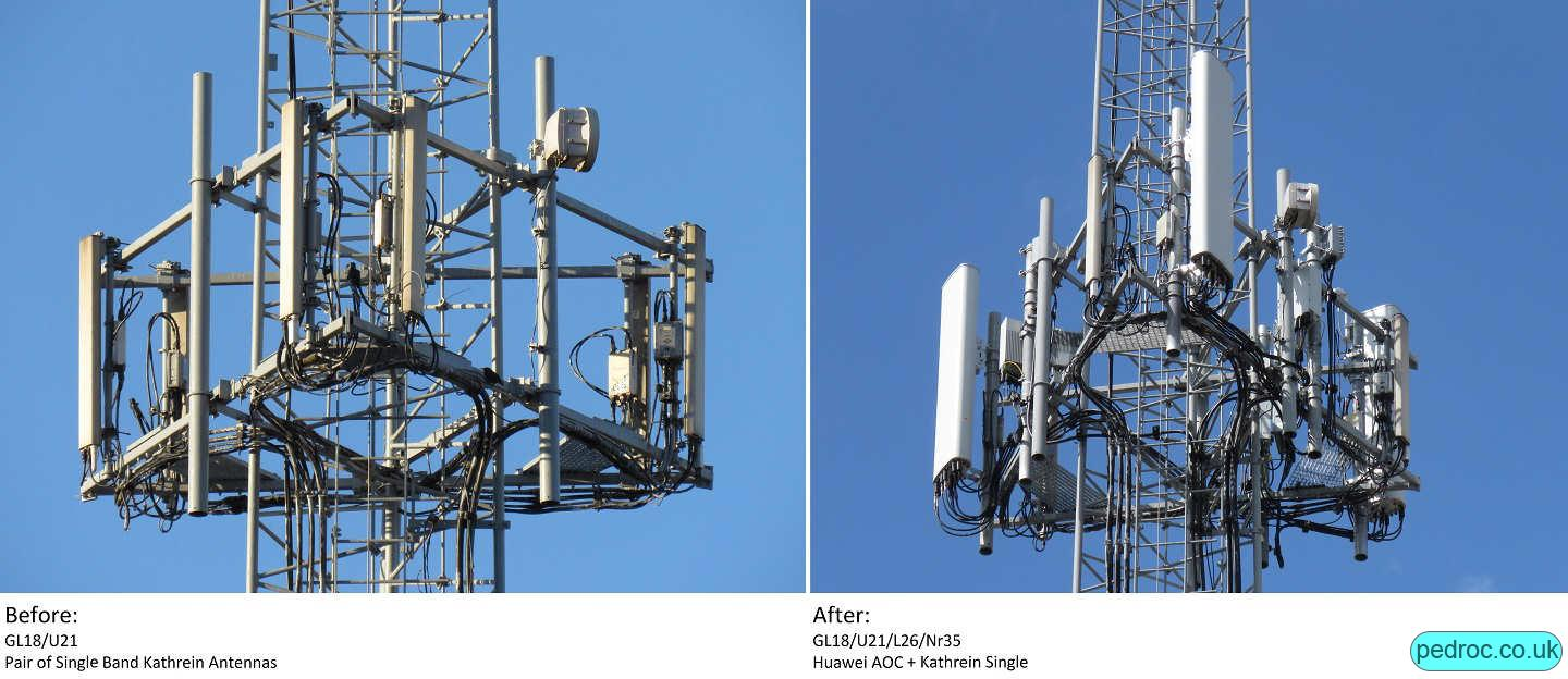 Before and after of an EE 5G Mast Upgrade that goes from a pair of single band Kathreins to using Huawei RRU 5258 for 8T8R N78 and Huawei AOC4518r8v06 antennas.