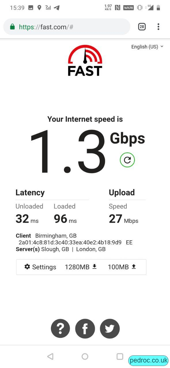 EE 5G Speed Test from Manchester.