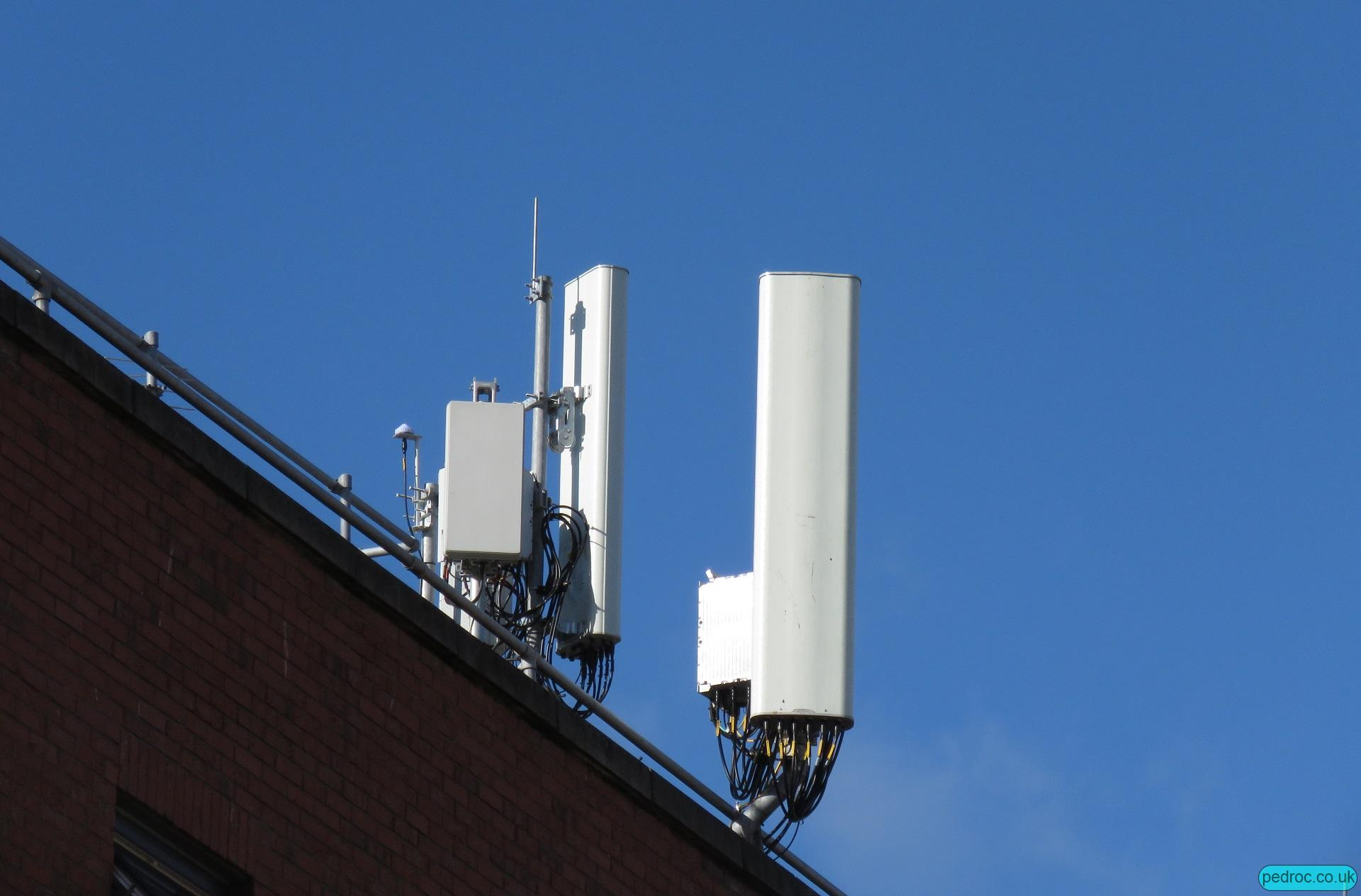 Eir rooftop 5G mast with Huawei six band antenna, Huawei RRUs and Huawei AAU