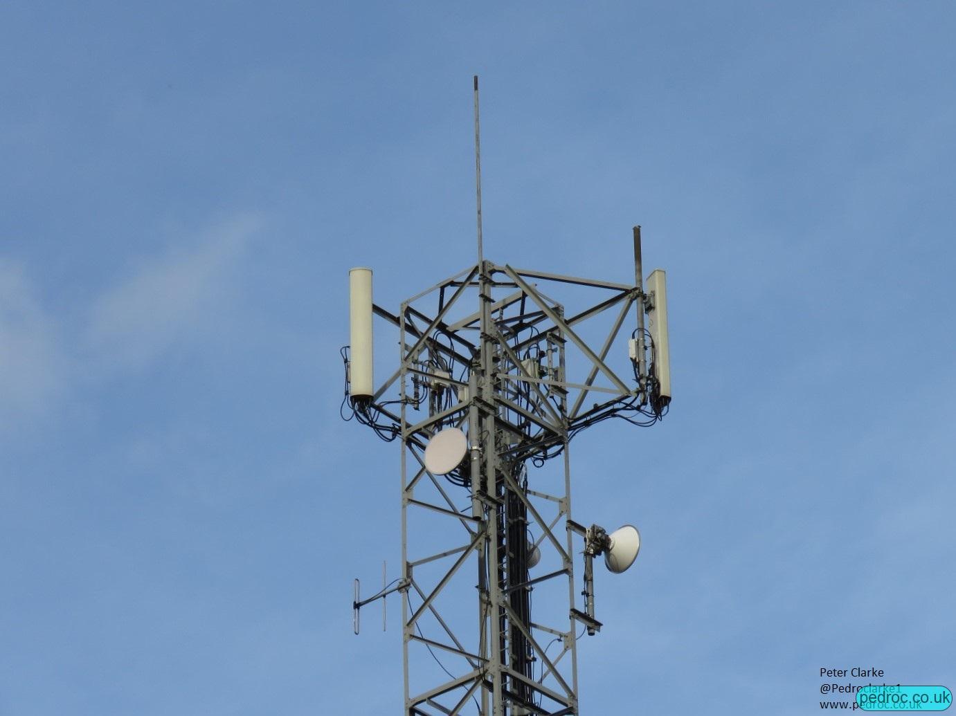 Closeup Commscope antennas for EE/3 on the West Beckham mast.