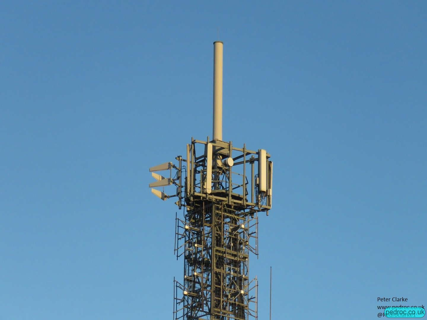 Scarborough Oliver's Mount UHF Mast top view with TV, radio and EE/3 and legacy VF cellular operators.