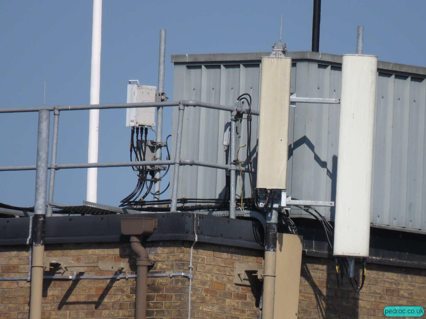 Closeup of EE/3's antennas: Huawei ATR with spare low band ports for EE 2T4R L26 and then a dual band Kathrein carrying the remaining.
