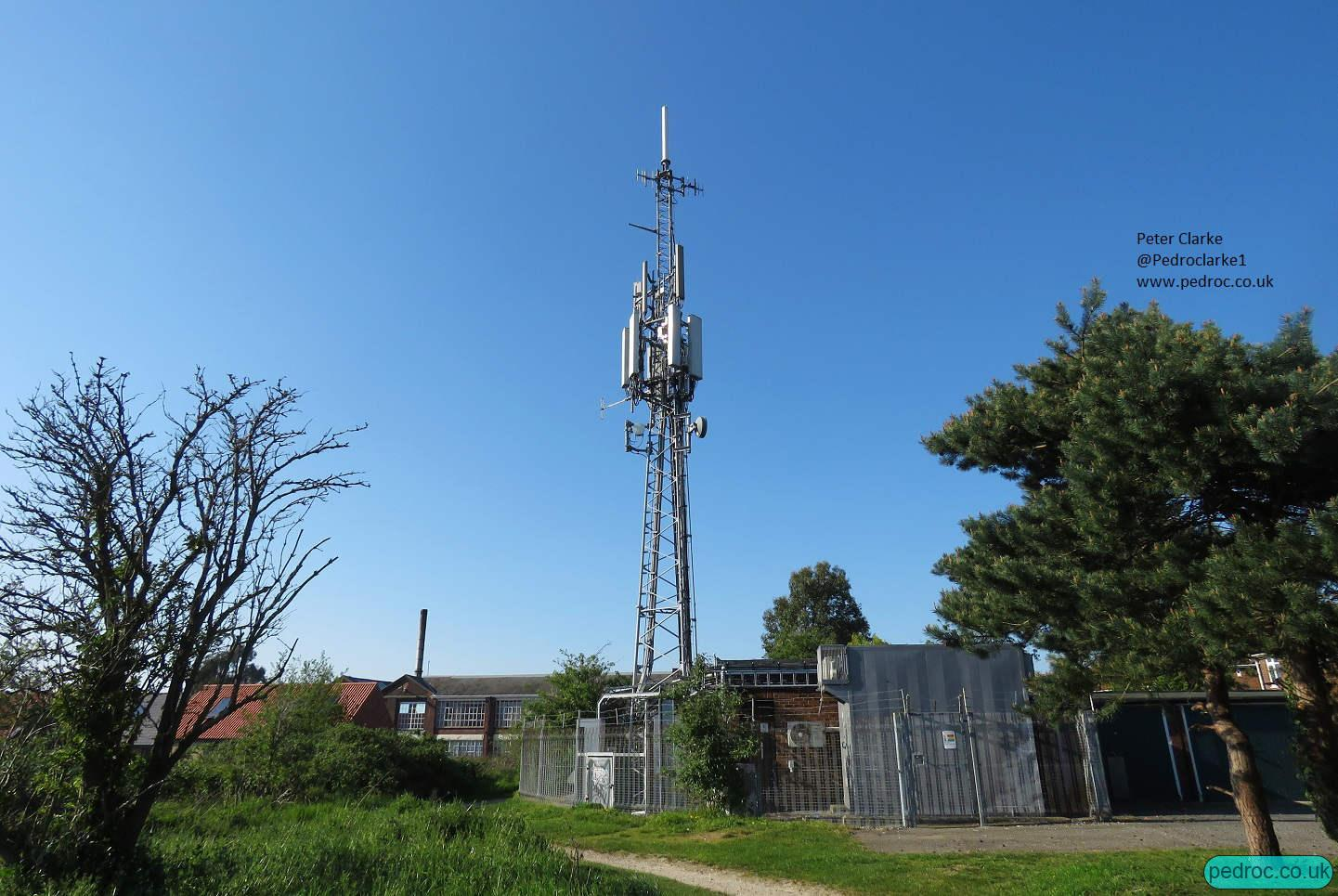 Norwich Arqiva Public Broadcasting mast with Digital TV, DAB and a variety of cellular equipment.