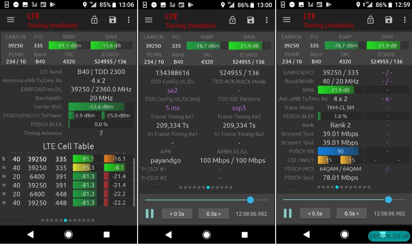 NSG Screenshots of the B40 TDD Config and EARFCNs