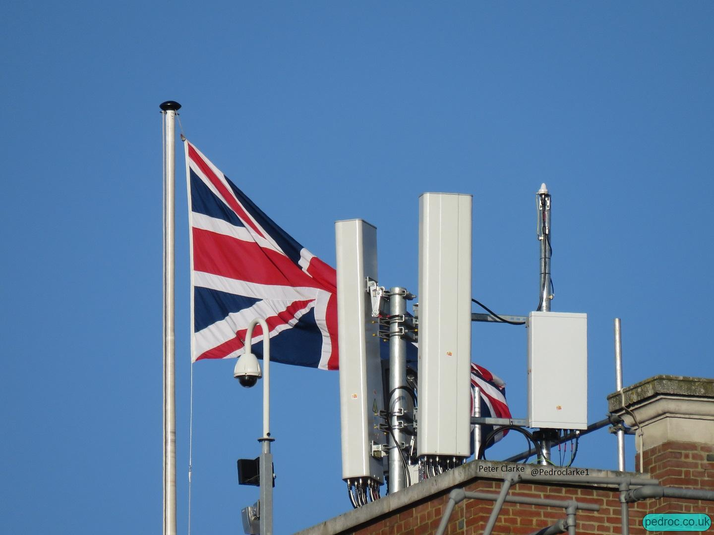 Vodafone Ericsson 5G mast in Whitehall, London